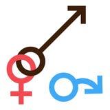 Sex symbol La traición interracial del hombre y de la mujer del género conectó símbolo Varón y símbolo abstracto femenino Ilustra Imágenes de archivo libres de regalías