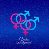 Sex symbol. Male and female gender symbols on blue background Stock Photo