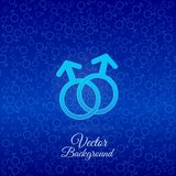 Sex symbol. Male gender symbols on color background Stock Photo