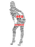 Sex symbol word cloud in shape of sexy woman Stock Image
