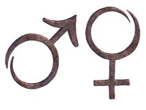 Sex symbols. Two single objects - stylized forged copper symbols of male and female, symbols of Mars and Venus. Gender signs Royalty Free Stock Photography