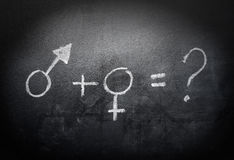 Sex-symbols-concept-and-formula-on-a-blackboard Stock Photos
