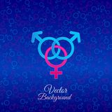 Sex symbols. A love triangle. Two male symbols and one female symbol on blue background Royalty Free Stock Image