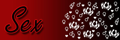Sex Text Symbols Banner. Sex text in red over red black background with group of symbols Stock Photography