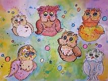 Sex vattenfärgugglor Royaltyfri Bild