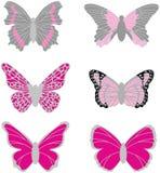 Sex vektorbilder av fjärilar fotografering för bildbyråer