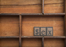 Sex in wooden typeset Royalty Free Stock Photo