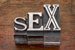 Sex word in metal type Stock Photo