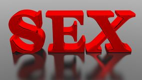 SEX. The word SEX in red on a black reflective table Royalty Free Stock Images