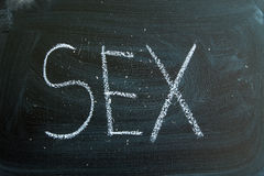 Sex written in chalk on a blackboard Royalty Free Stock Images