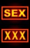 Sex XXX Neon Black Background Royalty Free Stock Photography