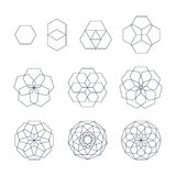 Sexangle contour various sacred geometry set vector illustration
