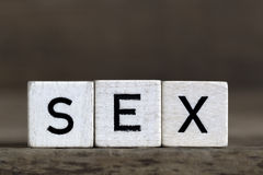 Sexe, écrit en cubes Photos stock