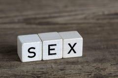 Sexe, écrit en cubes Photos libres de droits
