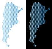 Sexhörnig abstraktion för Argentina översikt vektor illustrationer