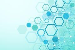 Sexhörnig geometrisk bakgrund Genetiska sexhörningar och socialt nätverk Framtida geometrisk mall 3d business dimensional present Fotografering för Bildbyråer