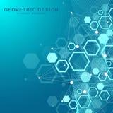 Sexhörnig geometrisk bakgrund Genetiska sexhörningar och socialt nätverk Framtida geometrisk mall 3d business dimensional present stock illustrationer