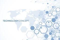 Sexhörnig geometrisk bakgrund Genetiska sexhörningar och socialt nätverk Framtida geometrisk mall 3d business dimensional present vektor illustrationer
