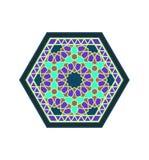 Sexhörnig modell för mellersta östlig stilvioletgräsplan Royaltyfri Illustrationer
