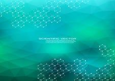 Sexhörnig molekyl molekylär struktur genetiska och kemiska sammansättningar Kemi medicin, vetenskap och teknik stock illustrationer