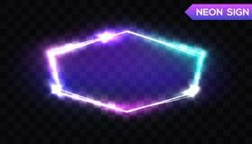 Sexhörnigt neontecken för nattklubb skylt för ljus 3d vektor illustrationer