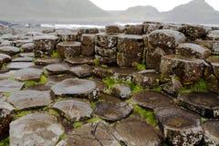 Sexhörnigt vaggar på jättevägbanken som är nordlig - Irland arkivfoton