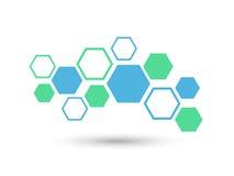 Sexhörningsabstrakt begrepp Medicinbakgrund med linjer, polygoner, och integrerar plana symboler Infographic begreppsläkarundersö Vektor Illustrationer