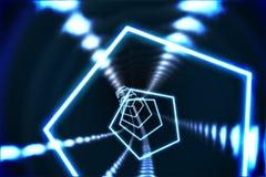 Sexhörningsdesign med glödande ljus Arkivfoto