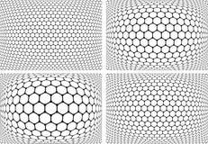 Sexhörningsmodeller Geometrisk bakgrundsuppsättning Arkivfoto