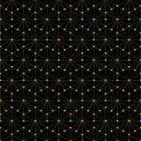 Sexhörnig modell för guld- wireframe - fyrkantig bakgrund Arkivbild