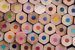Sexhörning färgade blyertspennabottnar Arkivbild
