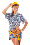 Sexi female worker over white Stock Image
