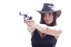 Sexi girl with hat with gun. Sexi girl in black dress with gun Royalty Free Stock Photos