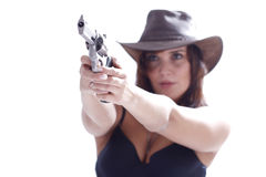 Sexi girl in hat with gun. Sexi girl in black dress with gun Stock Images