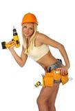 sexig arbetare för konstruktionskvinnlig Arkivbilder