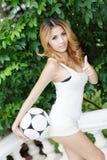 Sexig asiatisk fotboll Arkivfoto