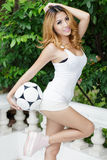 Sexig asiatisk fotboll Arkivfoton