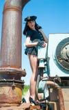 Sexig attraktiv poliskvinna Fotografering för Bildbyråer