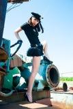 Sexig attraktiv poliskvinna Royaltyfri Bild