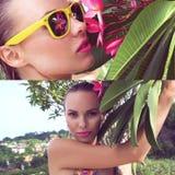 Sexig bärande bikini för ung kvinna med den våta hår och trädblomman på en solig dag Royaltyfri Foto