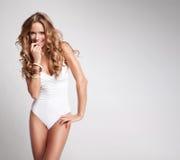 sexig baddräktkvinna Arkivfoto