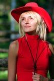 sexig blond cowgirl Royaltyfria Foton