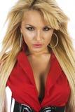 Sexig blond flicka i röd blus Fotografering för Bildbyråer