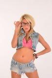 Sexig blond geek Royaltyfria Bilder