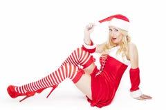 Sexig blond julflicka Fotografering för Bildbyråer