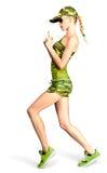 Sexig blond kvinna i vapen för kamouflagestildanande Royaltyfria Foton