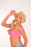 Sexig blondin i hatt Royaltyfria Bilder