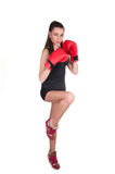 Sexig boxningkvinna Arkivbilder