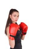 Sexig boxningkvinna royaltyfri fotografi