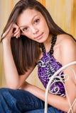 Sexig bruneete för modell för flickakvinnamode Arkivbild